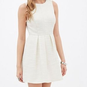 Forever 21 Shimmery Gold/Crm Pleated  Mini-Dress M